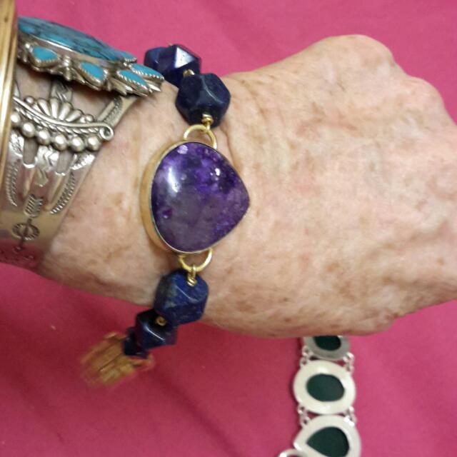 Designer ARTISTE Lapis Lazuli & Russian Charoite 18ct Gold Plated  Bracelet