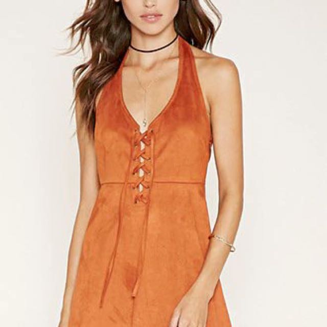 Faux Suede Halter Dress