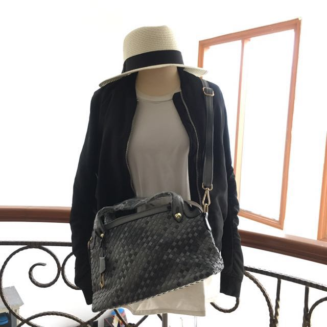 Grey Leather Sling Bag