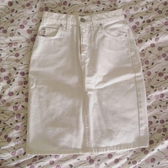 Guess White Jean Skirt