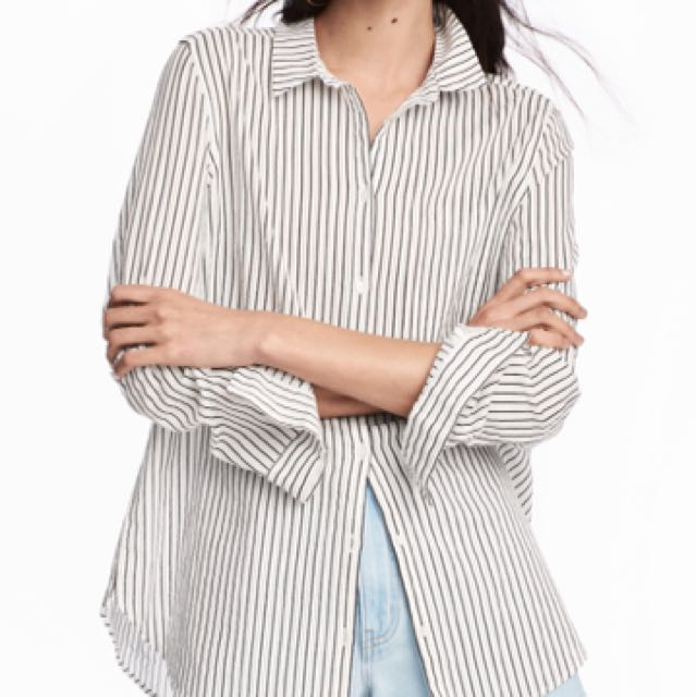H M Striped Long Sleeve Collared Shirt In Size 40 Women S