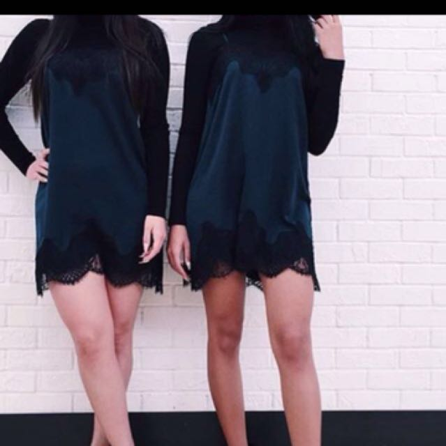 ISO Teal Or Green Lace Slip Dress (same Dress As In The Photo)