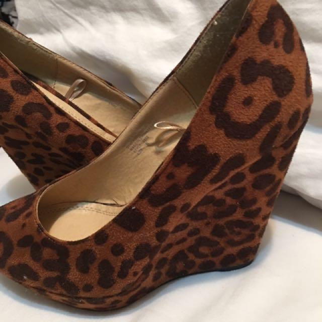 Leopard Wedge Heels