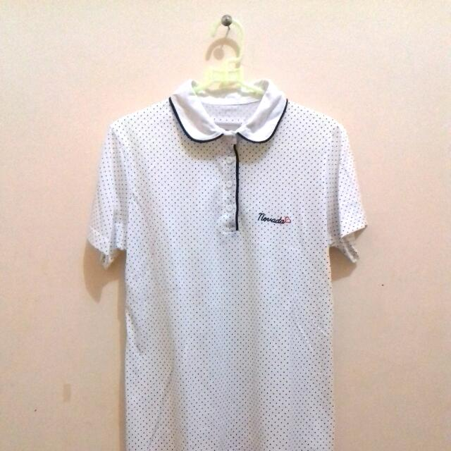 Nevada Polkadot White Collar Shirt