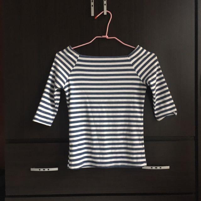 Queen Shop5分袖平口棉質條紋上衣