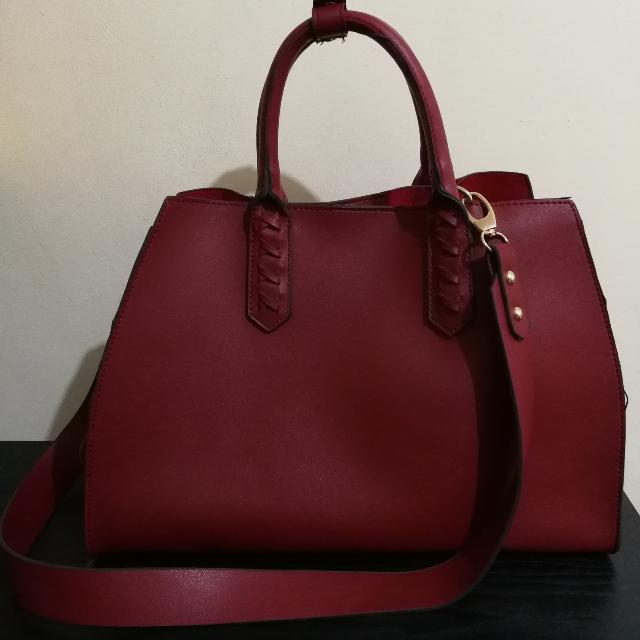 Red Handbag With A Sling & Pouch