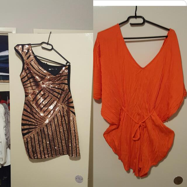 Shiny one hand dress and romper