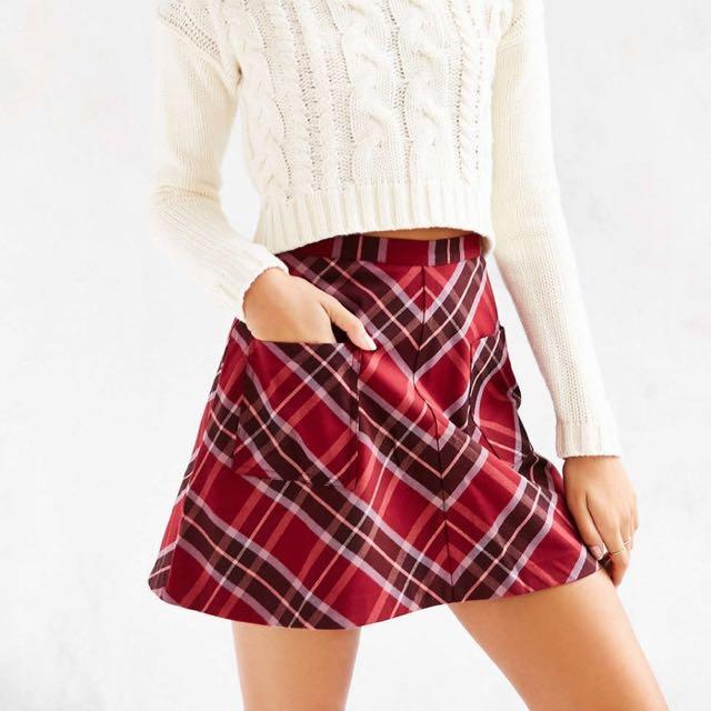Silence + Noise Plaid Red Skirt