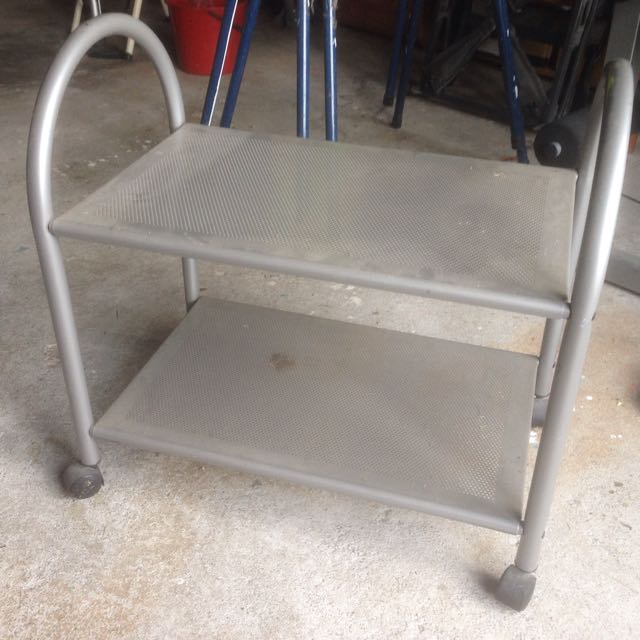 Silver Metal Shelves With Wheels