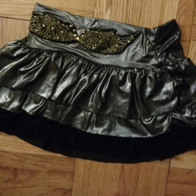 Silver Ruffled Mini Skirt, Size 6