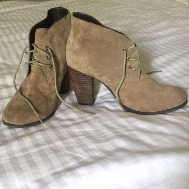 Siren Heeled Ankle Boots - Taupe Brown