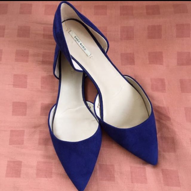 Slightly Used Zara Blue Suede D'orsay Flats