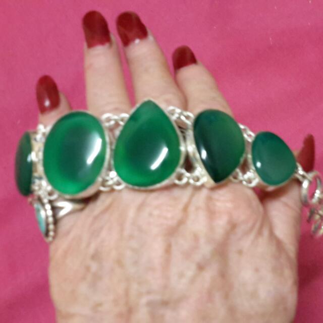 Sterling Green Onyx Bracelet Designer Artiste