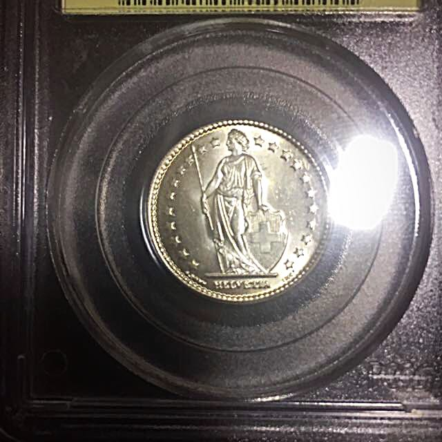 1943-B Switzerland 1 One Franc Silver Coin PCGS MS66 Old Slab (Consignment)