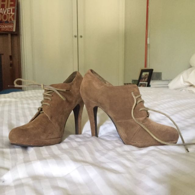 Texto Heeled Boots - Taupe Brown Suede