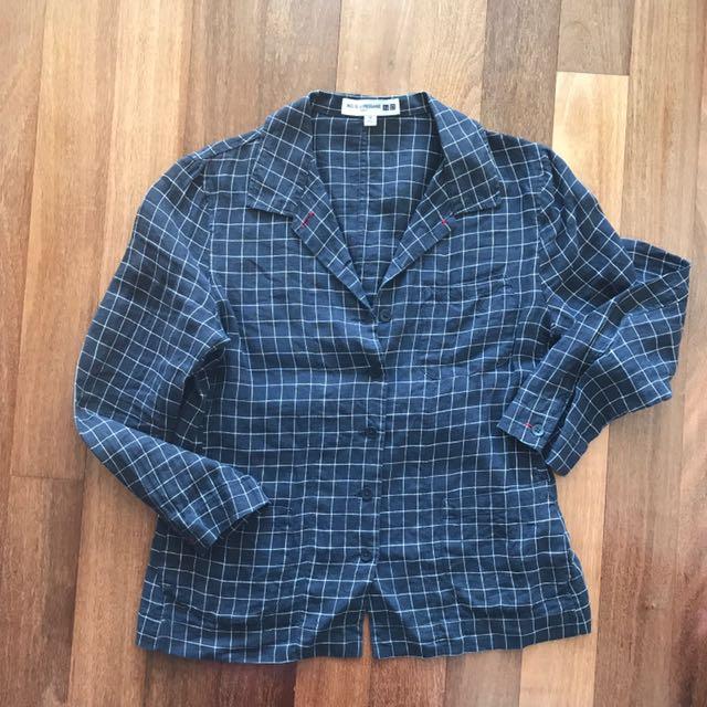 Uniqlo Ines De La Fressange Collection Navy Linen Shirt Size XS
