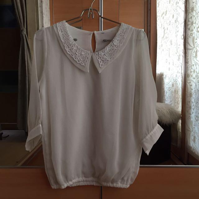 White Collar Blouse