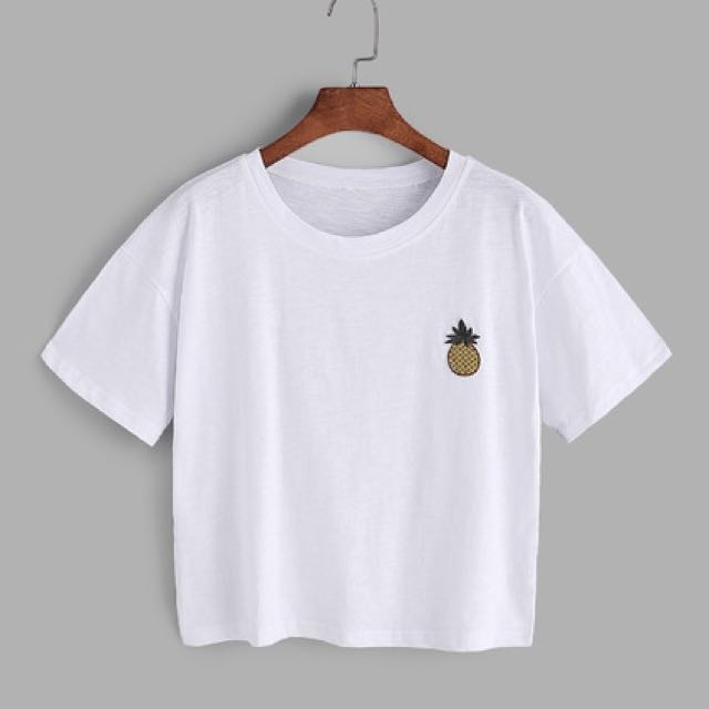 White Pineapple Embroidered Patch Shirt