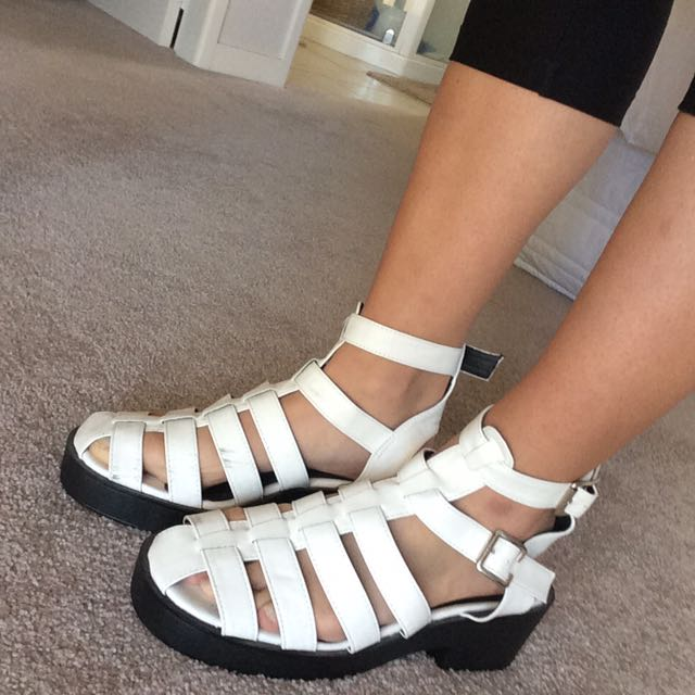 White Strappy Wedge Shows