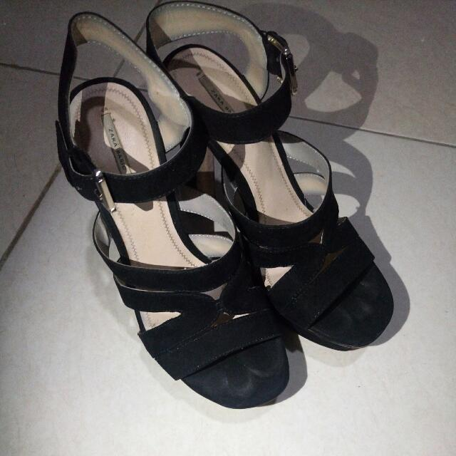 ZARA Black Block Heels Size: 40