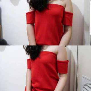 Red Sabrina Top #onlinesale