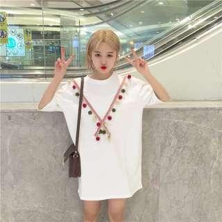 ✨現貨✨彩色毛球長版連身衣
