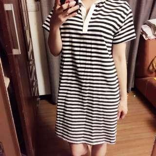 正韓  條紋休閒洋裝