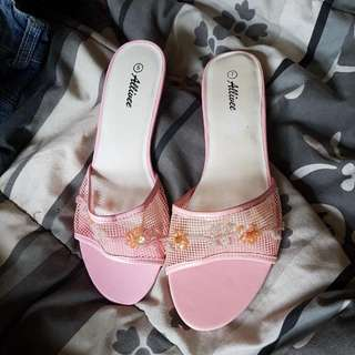 JUST REDUCED: Pink Beaded Kitten Heels