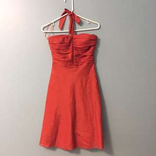 Le Chateau Orange Halter Dress