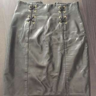 Genuine Leather Vintage Black Pencil Skirt