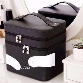 🐳黑色 貓咪🐱雙層化妝箱 双層大容量化妝箱 化妝品收納 旅行收納