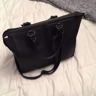 Aldo Black Leather Messenger Bag