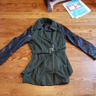 Jacket With Fake Leather Sleeves