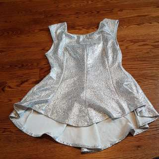 Sparkly Silver Peplum Top