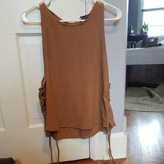 Pale Brown Lace Up Top