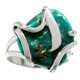 Designer 925 Ring Natural Turquoise Chunk Rough Size 9