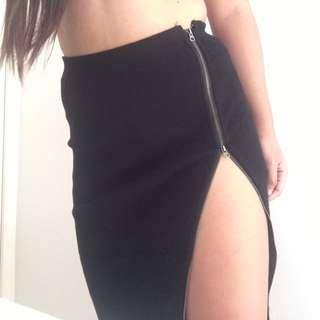 Midi Skirt With Adjustable Zip Split