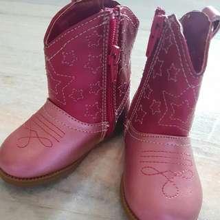 Sepatu Boots Anak Cewek Motif Bintang Warna Pink