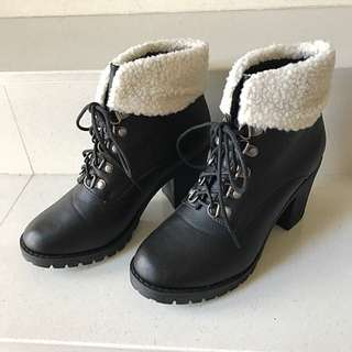 Black Ankle Laced Up Booties