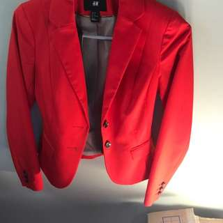 H&m Red Fitted Jacket XS Cue