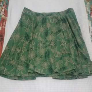 Uniqlo Cotton Skirt Green Floral