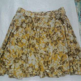 Uniqlo Cotton Skirt Yellow Floral