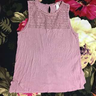 H&M Long Lacy Pink Tank Top