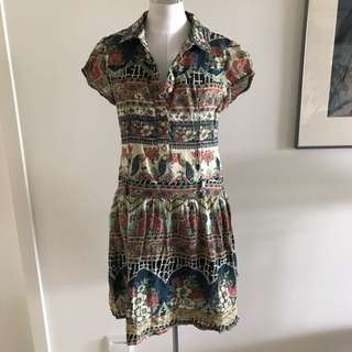 SIZE 8 Vintage Look Cotton Shirt Dress