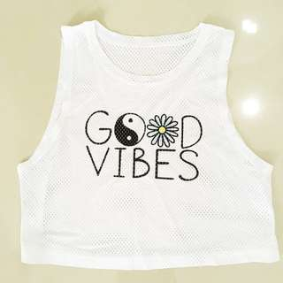 Good Vibes Daisy Sleeveless Crop Top