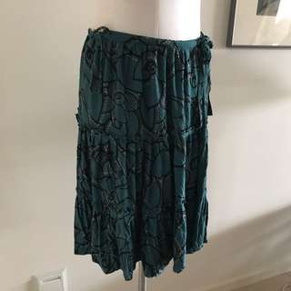 SIZE 10 FRENCH CONNECTION Teal Floral Wrap Skirt
