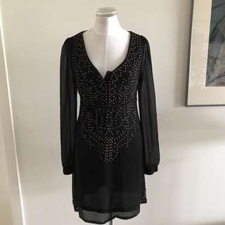SIZE 10 DOTTI black Sheer Long Sleeved Dress