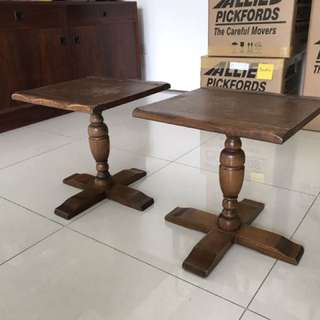 American Oak Side Tables (2). Each 14 Inch X 14 Inch X 15 In Height. Late 1960's.