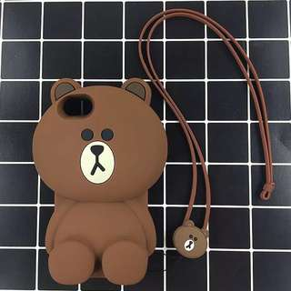 iPhone 6 Brown Line Bear Case with Strap