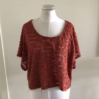 SIZE 10 MINK PINK FLOATY BURNT ORANGE TOP